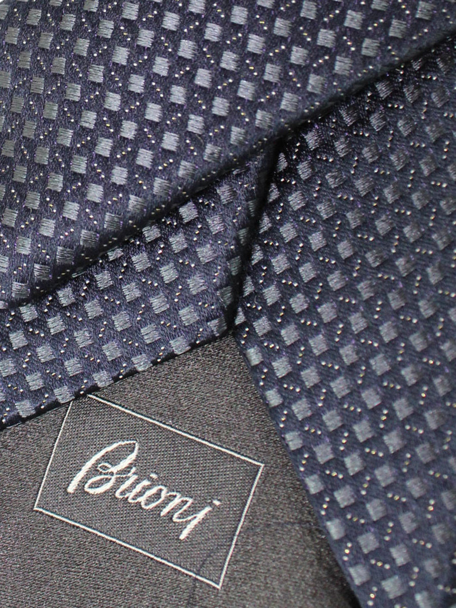 Brioni Silk Tie Dark Gray Silver Geometric Design