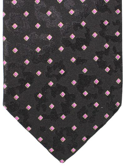 Brioni Silk Tie Black Pink Diamonds Design
