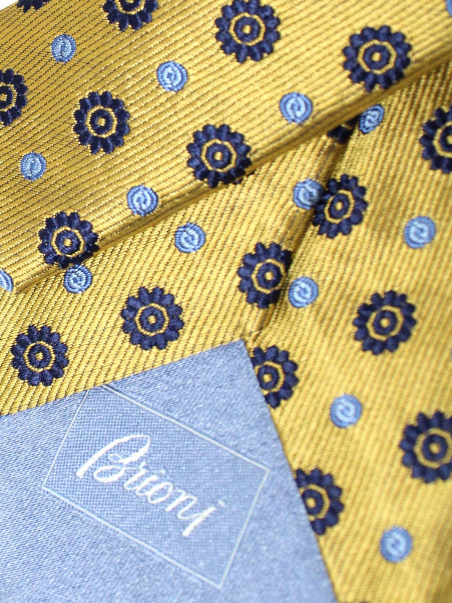 Brioni Silk Tie Dark Yellow Navy Geometric Design
