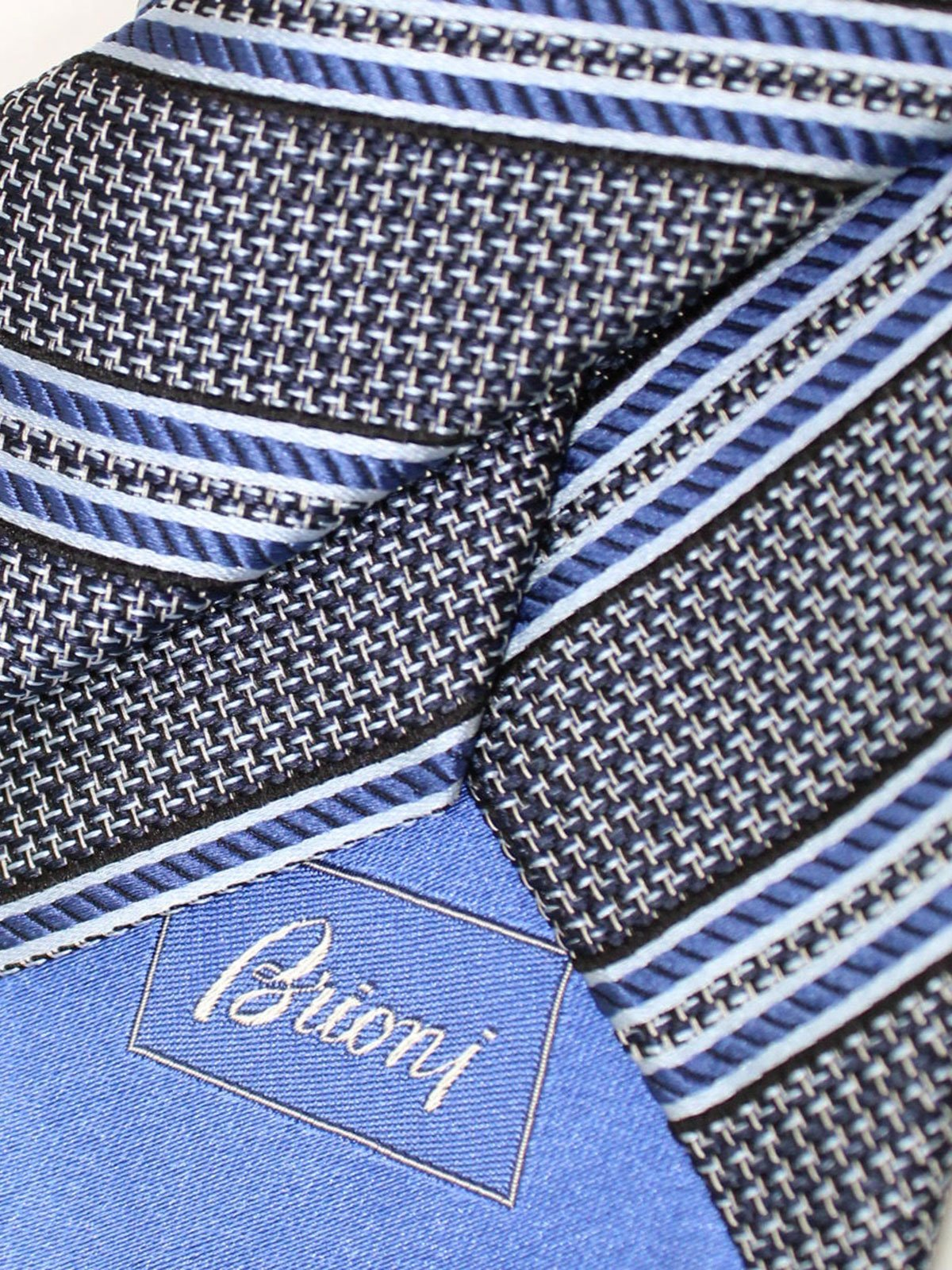 Brioni Silk Tie Blue Stripes Design