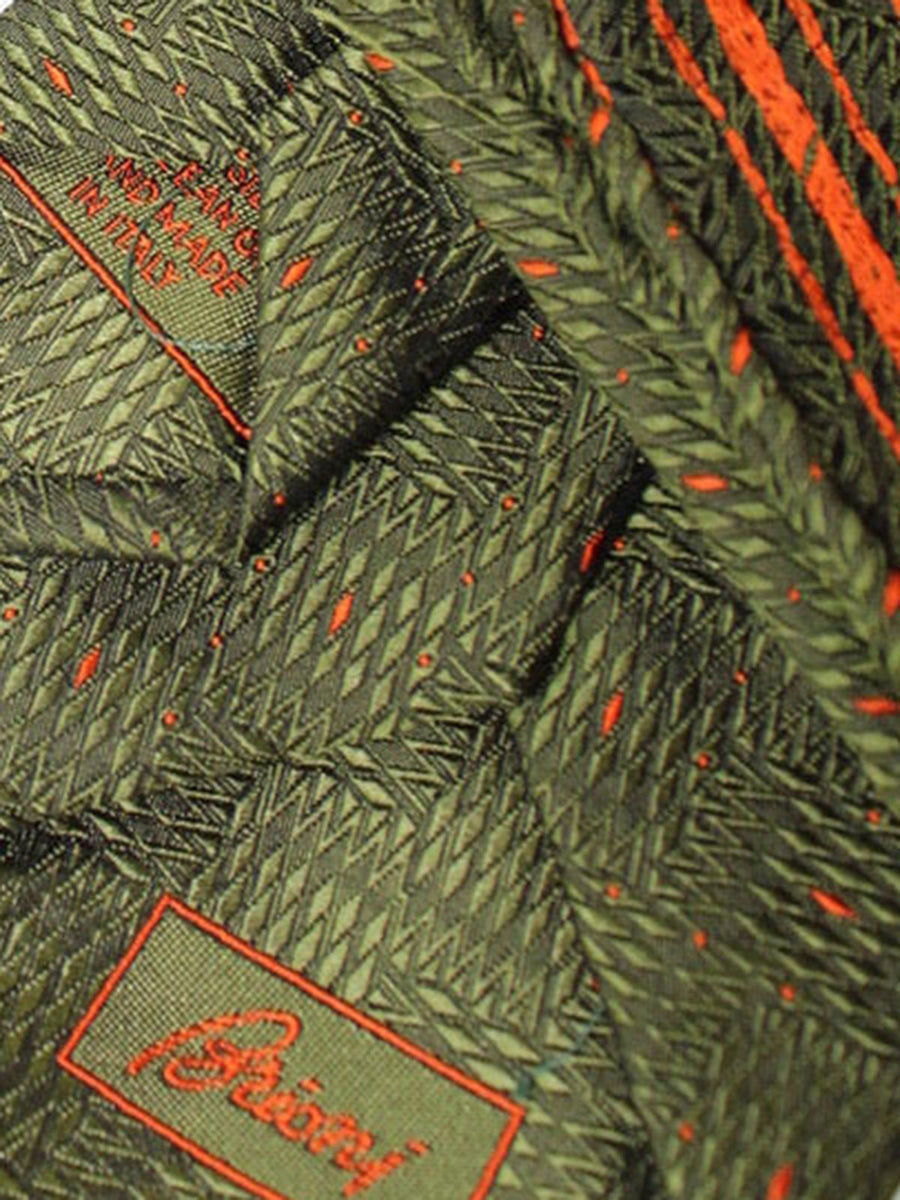 Brioni Tie & Matching Pocket Square Set Forest Green Orange Geometric