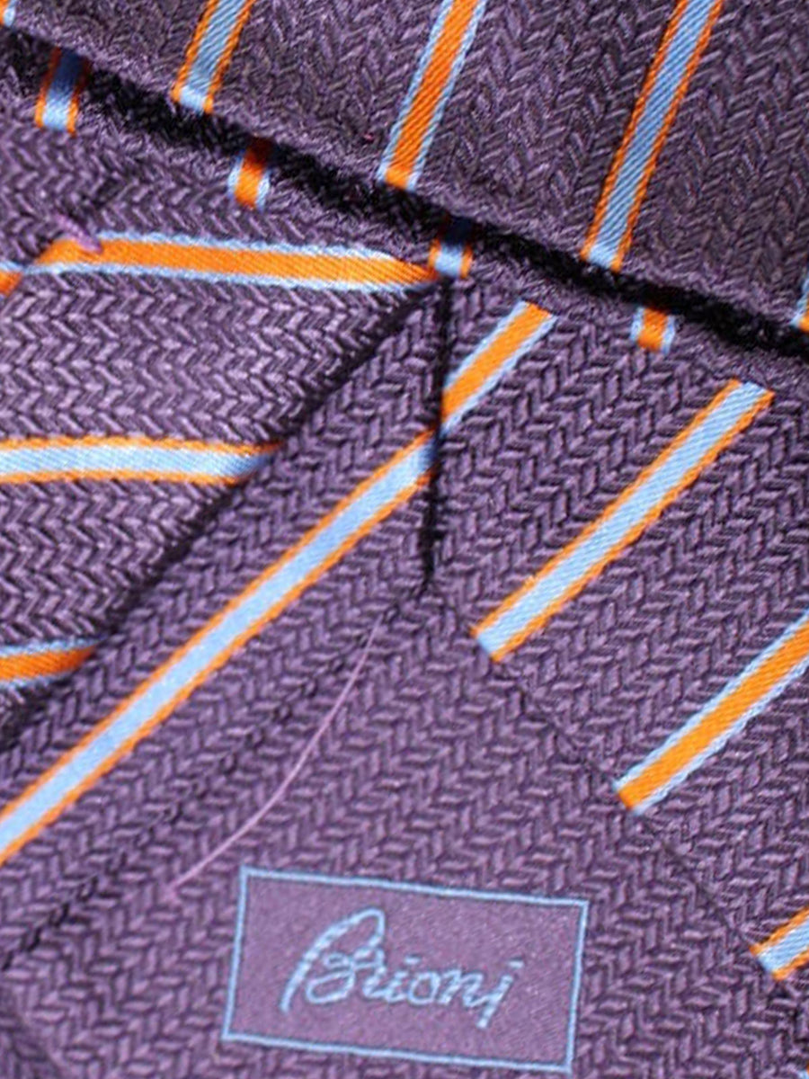Brioni Tie & Matching Pocket Square Set Purple Orange Blue Stripes