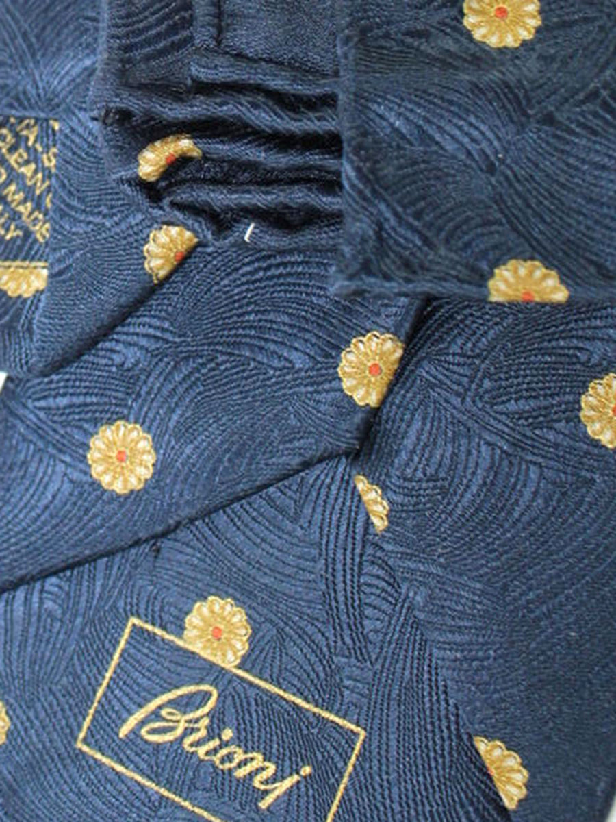 Brioni Tie & Matching Pocket Square Set Dark Blue Gold Floral