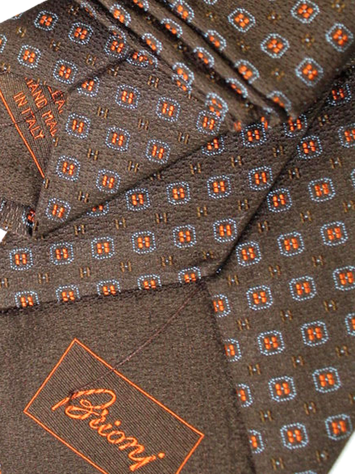 Brioni Tie & Matching Pocket Square Set Brown Orange Blue Geometric