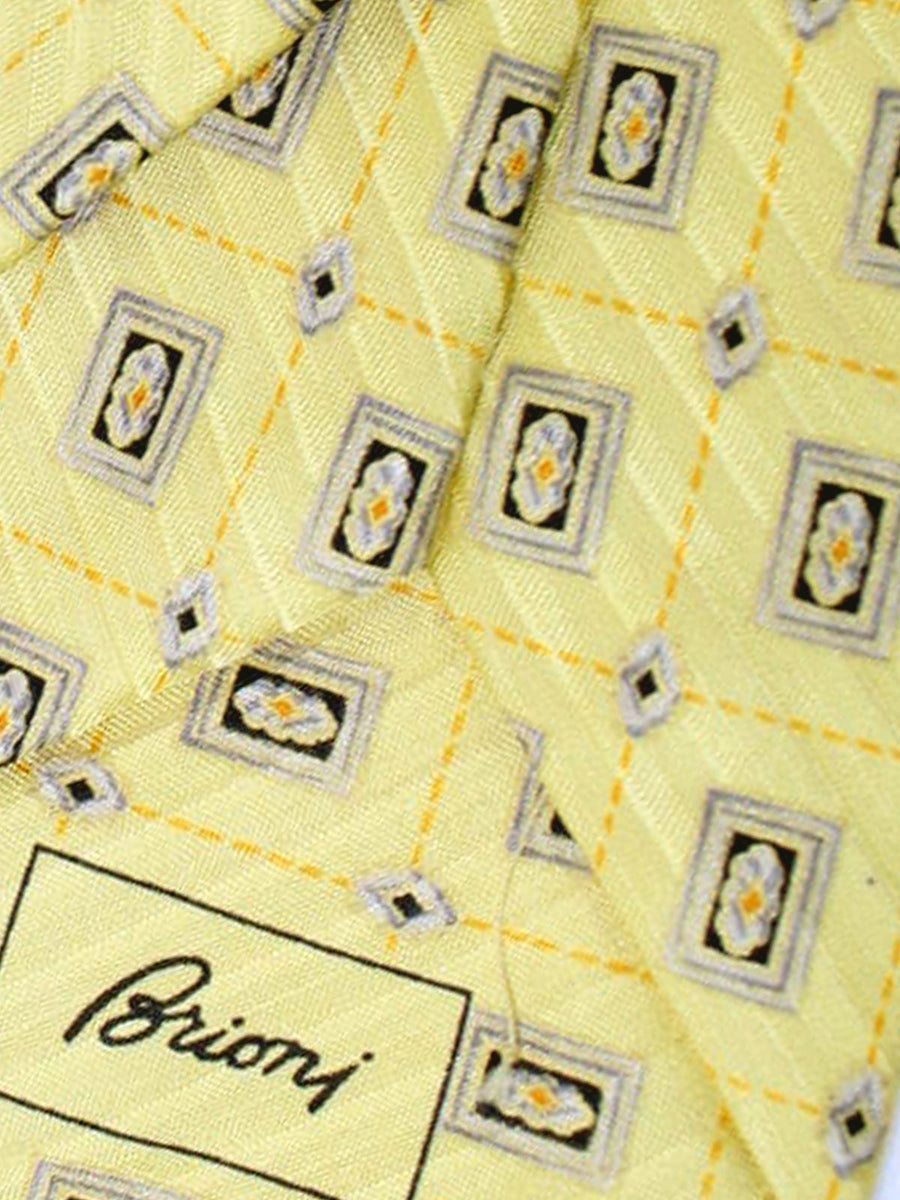 Brioni Tie & Matching Pocket Square Set Yellow Gray Geometric