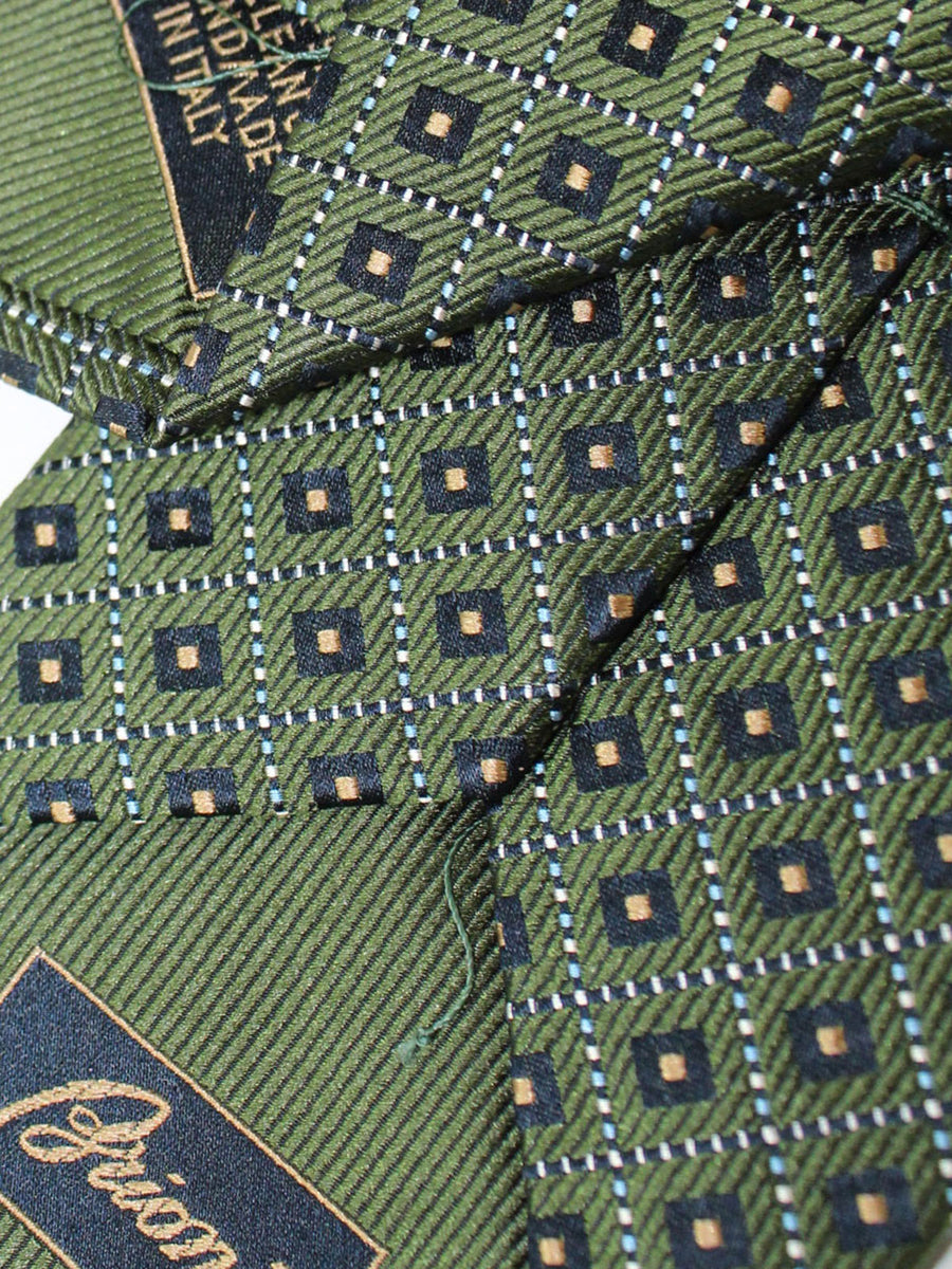 Brioni Silk Tie Dark Green Geometric Design