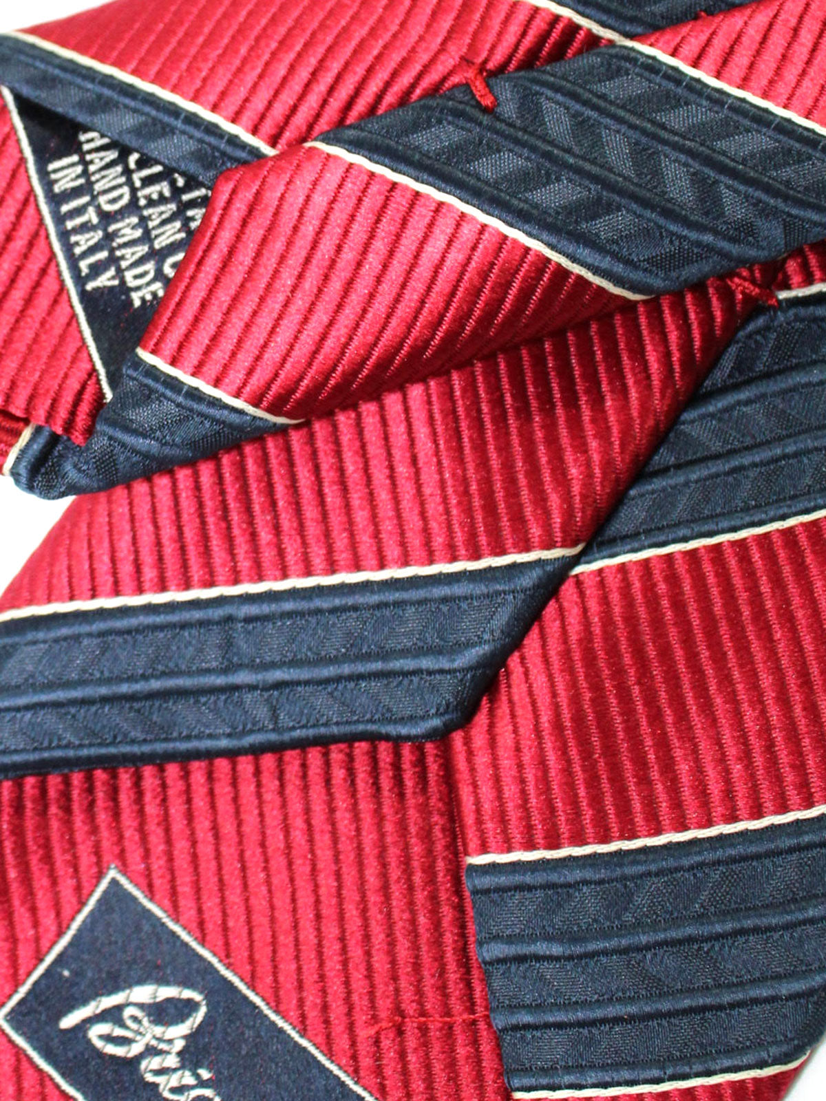 Brioni Silk Tie Dark Blue Red Stripes Design