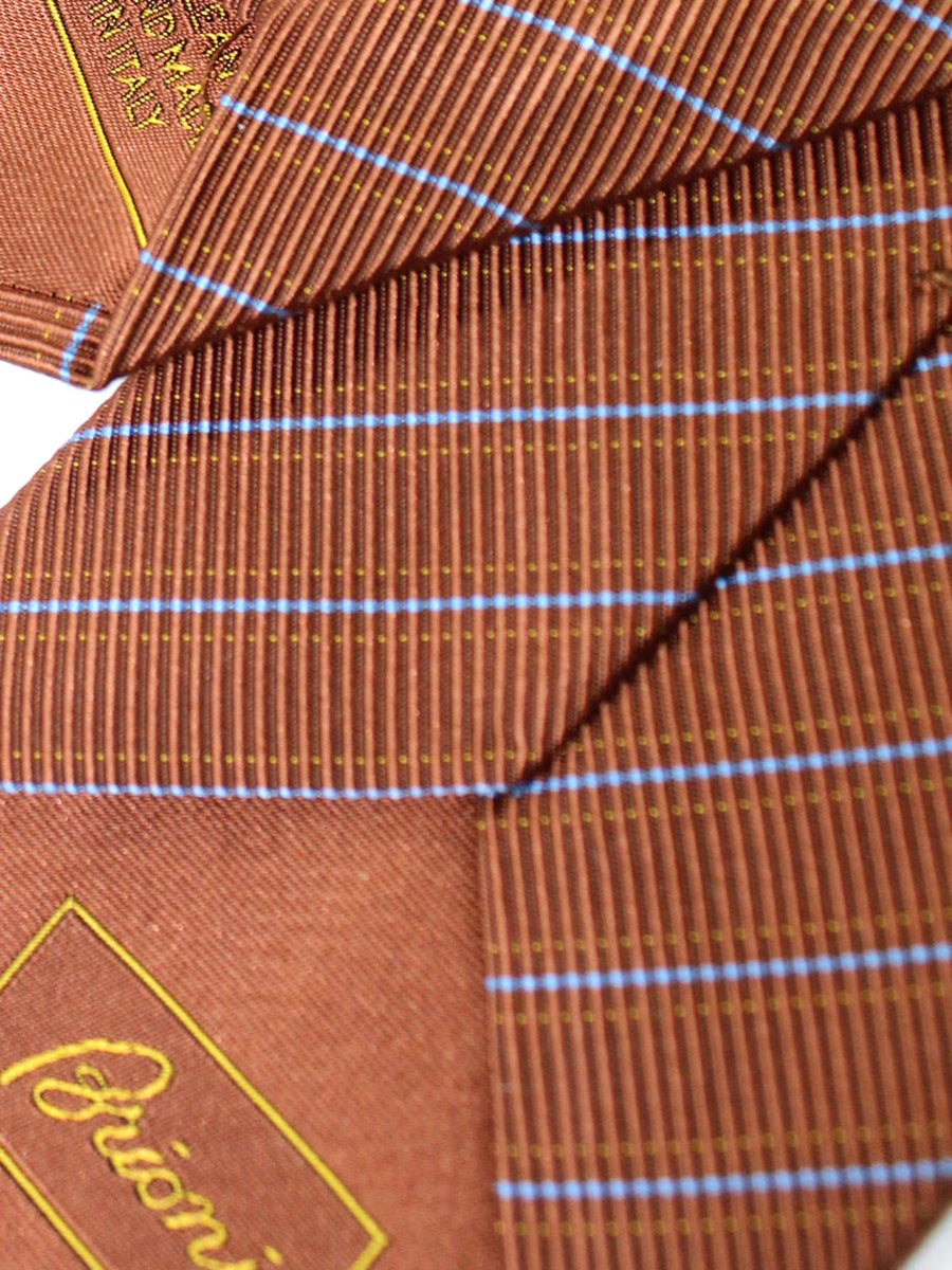 Brioni Silk Tie Brown Royal Stripes Design