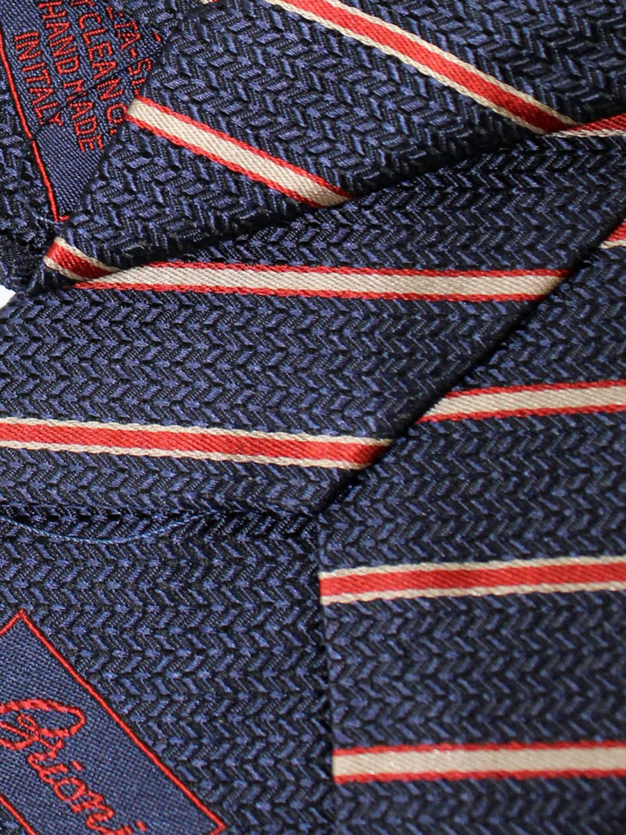 Brioni Silk Tie Dark Blue Red Silver Stripes Design