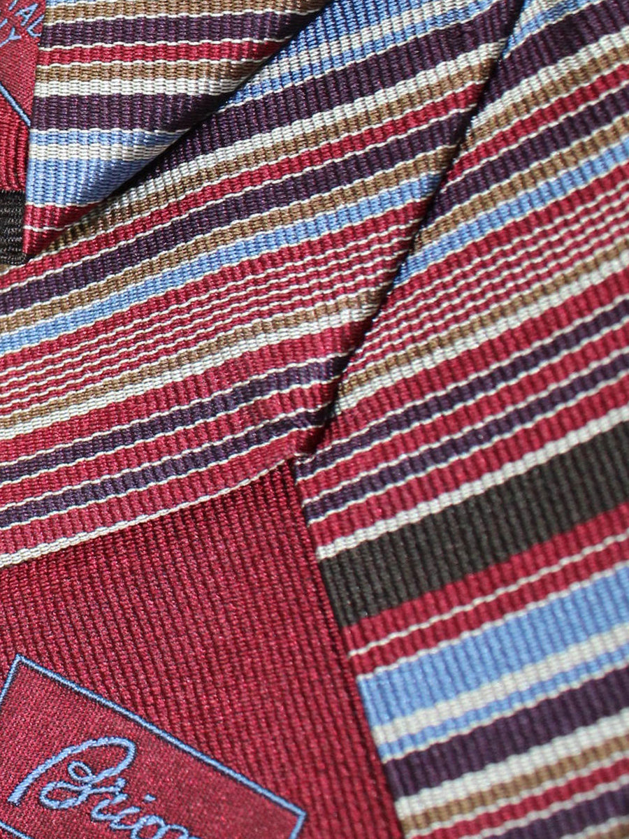Brioni Silk Tie Dark Red Blue Stripes Design