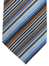 Brioni Silk Tie Blue Taupe Stripes Design