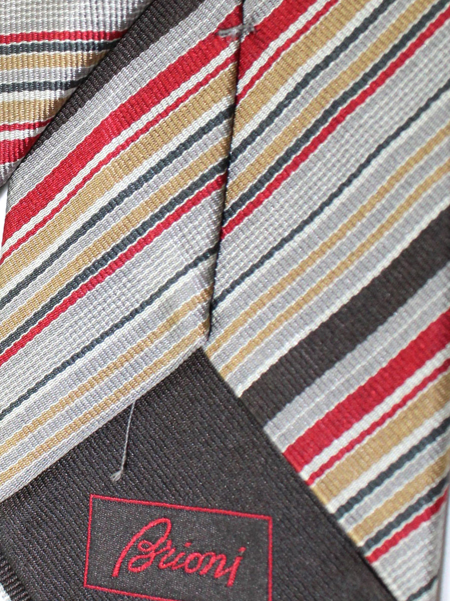 Brioni Silk Tie Gray Maroon Black Stripes Design
