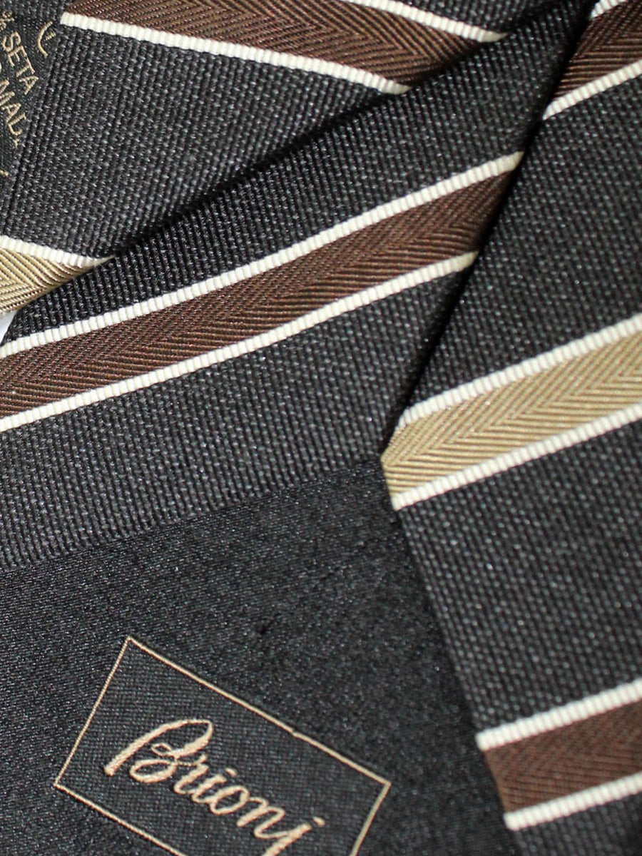 Brioni Extra Long Tie Black Brown Stripes Design