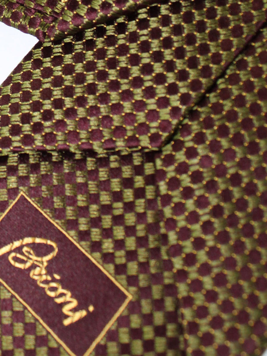 Brioni Tie Maroon Forest Green Geometric Design
