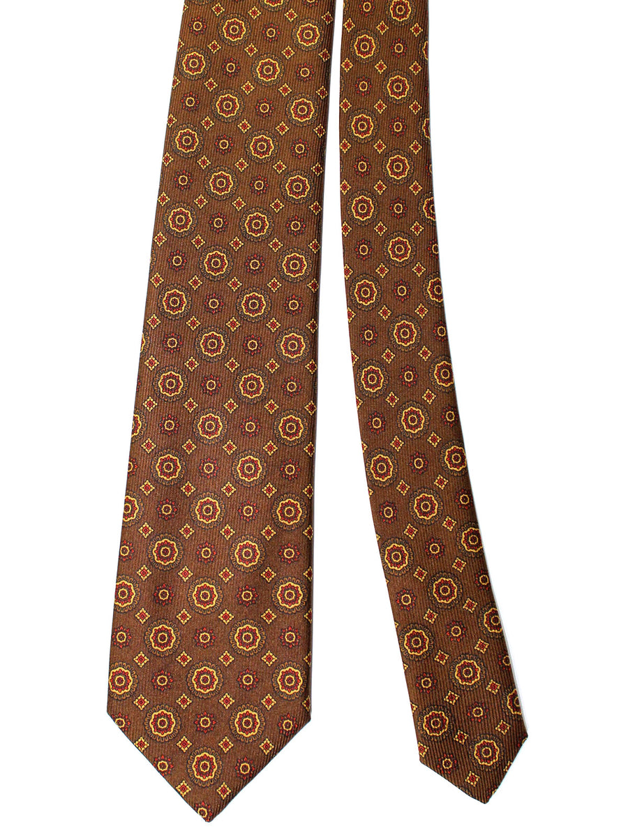 Brioni Tie & Matching Pocket Square Set Brown Medallions