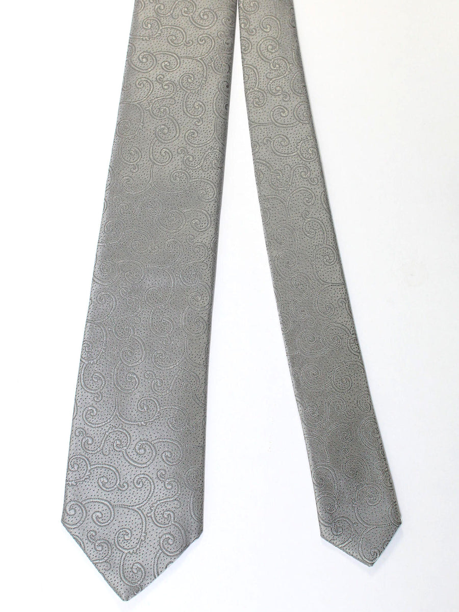 Brioni Tie & Matching Pocket Square Set Gray Ornamental