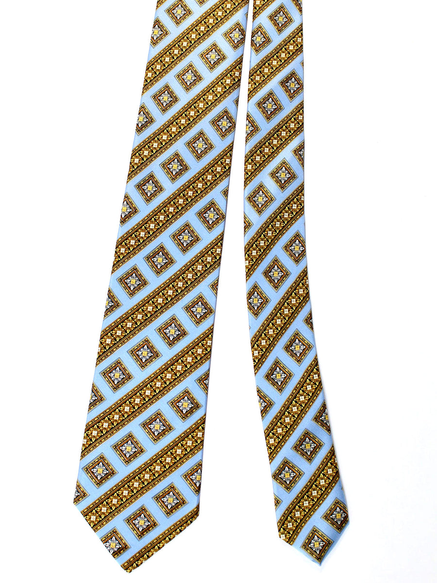 Brioni Tie & Matching Pocket Square Set Sky Blue Brown Gold Medallions