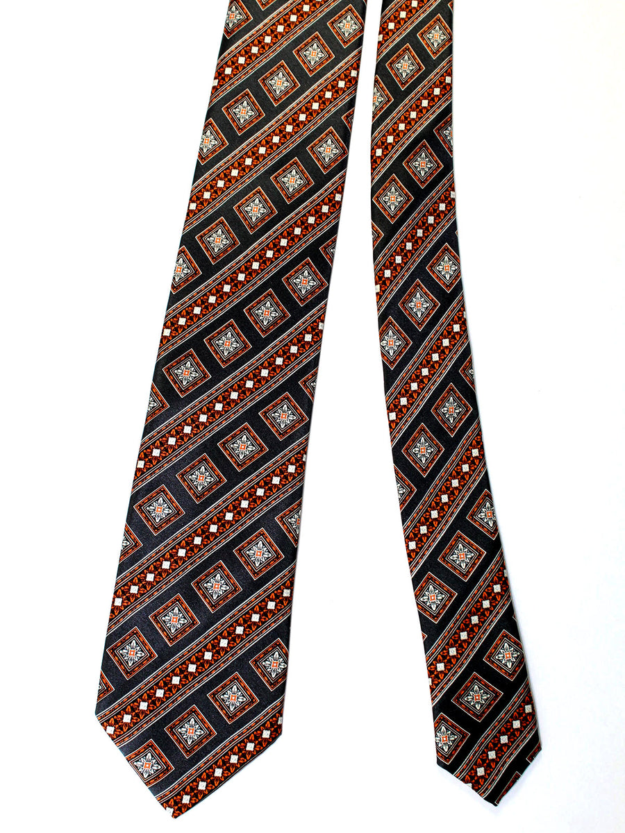 Brioni Tie & Matching Pocket Square Set Gray Brown Medallions