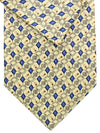 Brioni Tie & Matching Pocket Square Set Cream Blue Geometric