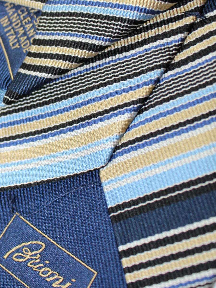 Brioni Silk Tie Black Navy Taupe Stripes