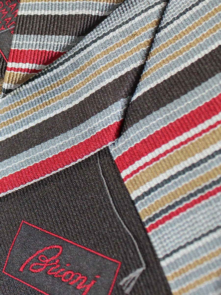 Brioni Silk Tie Gray Olive Dark Red Stripes