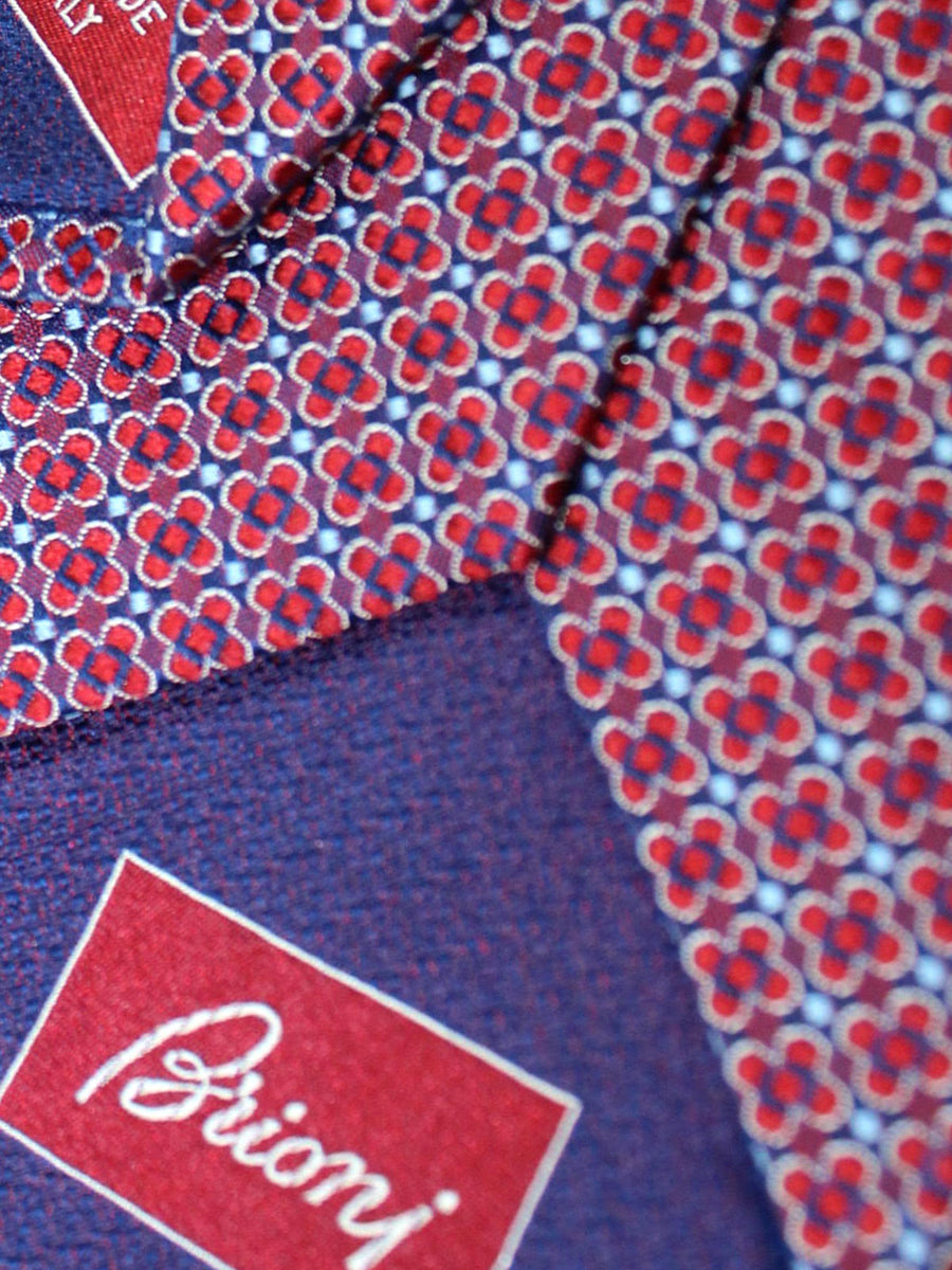 Brioni Silk Tie Red Maroon Blue Geometric