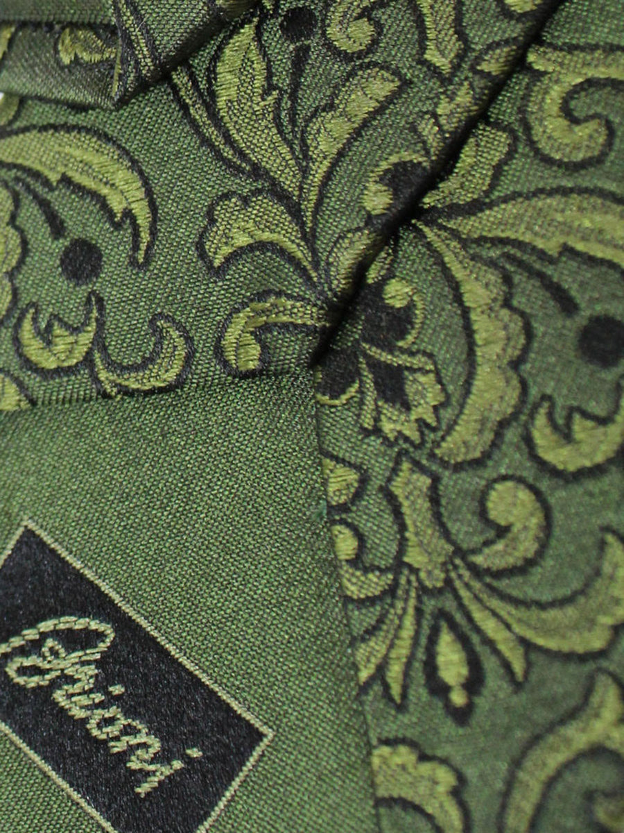 Brioni Silk Tie Dark Green Ornamental FINAL SALE