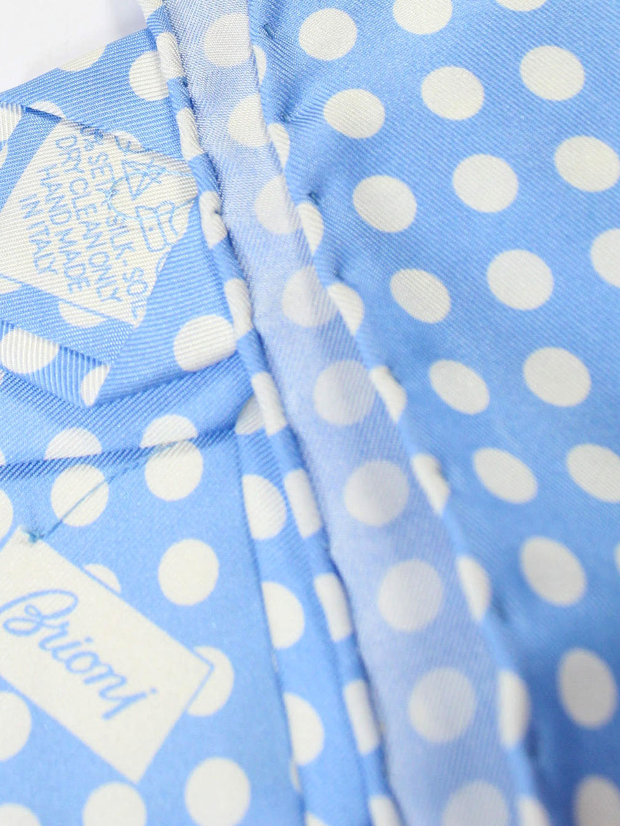 Brioni Tie & Matching Pocket Square Set Sky Blue White Polka Dots