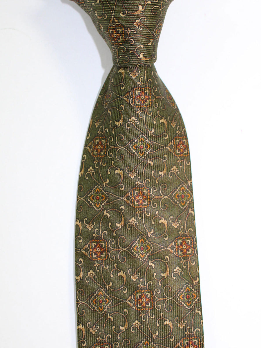 Brioni Tie & Matching Pocket Square Set Dark Green Medallions