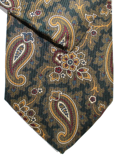 Brioni Tie & Matching Pocket Square Set Forest Green Maroon Paisley