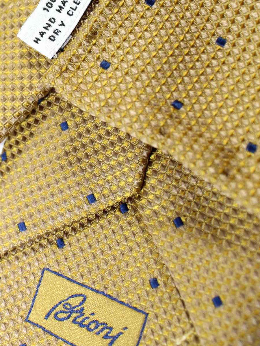 Brioni Tie & Matching Pocket Square Set Gold Navy Geometric