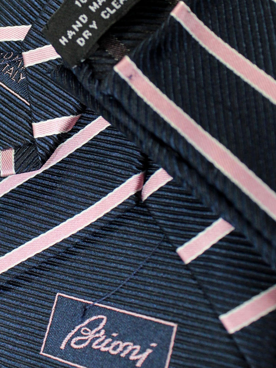 Brioni Tie & Matching Pocket Square Set Dark Blue Pink Silver Stripes