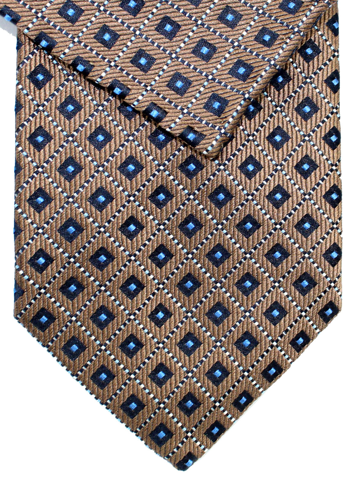 Cesare Attolini Blue With Tan Motif Pocket Square Handmade In Italy