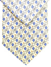 Brioni Tie & Matching Pocket Square Set Cream Silver Blue Geometric