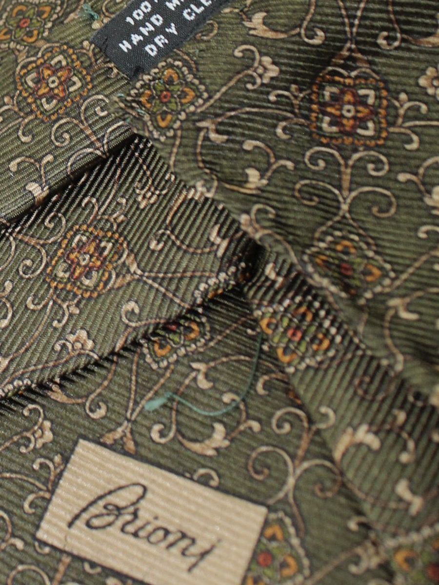 Brioni Tie & Matching Pocket Square Set Forest Green Medallions