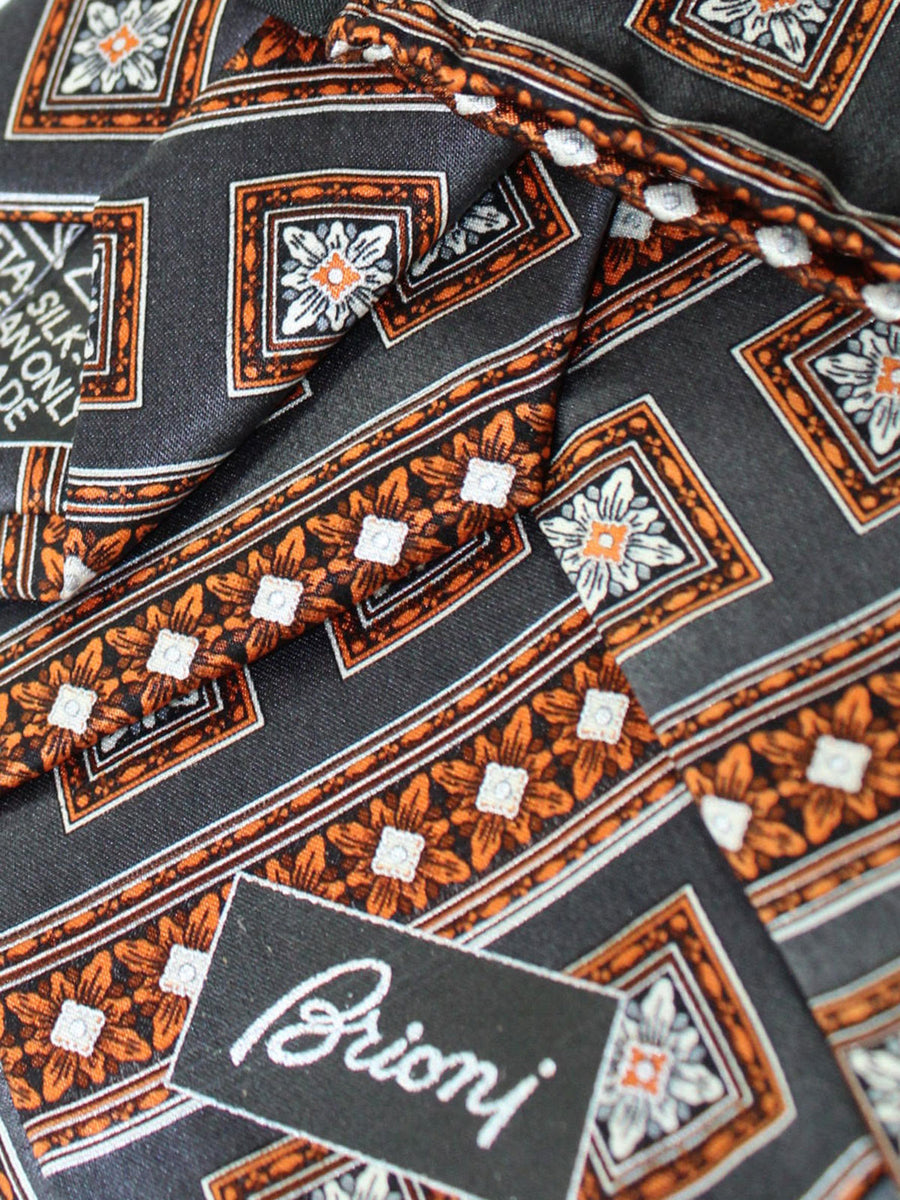 Brioni Tie & Matching Pocket Square Set Gray Copper Medallions
