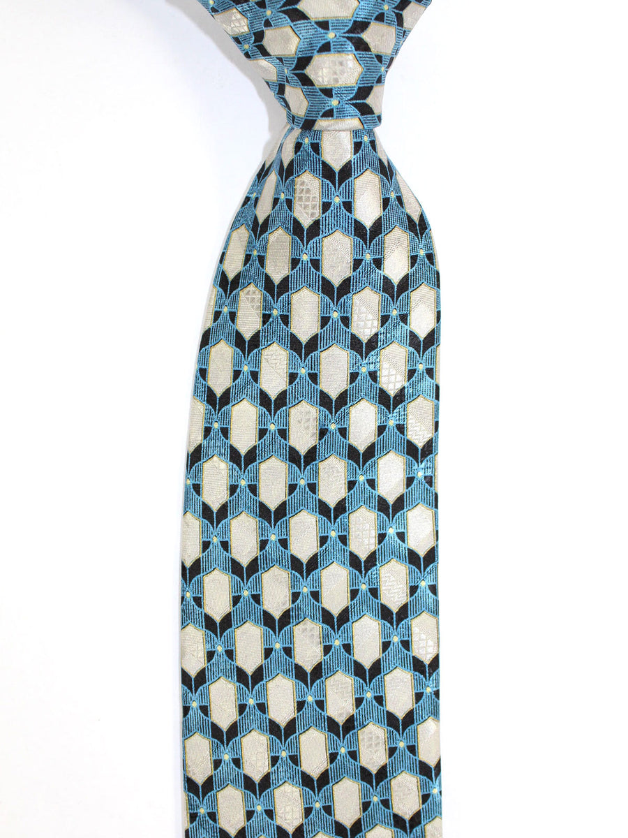 Brioni Tie & Matching Pocket Square Set Metallic Blue Gray Geometric