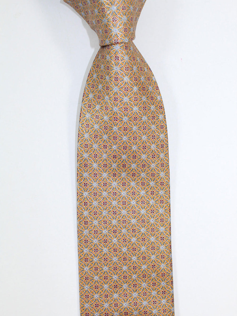 Brioni Tie & Matching Pocket Square Set Rust Orange Gray Medallions