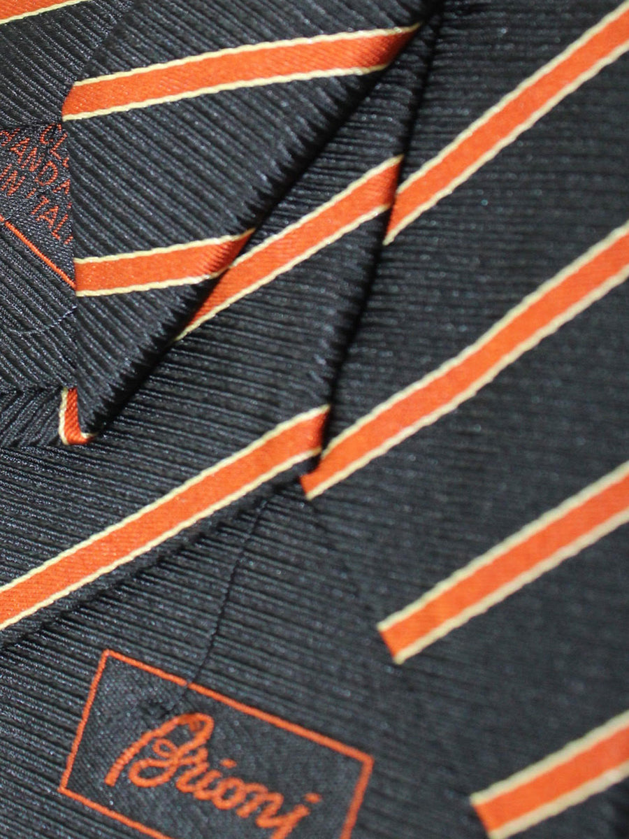 Brioni Tie & Matching Pocket Square Set Black Orange Gold Stripes
