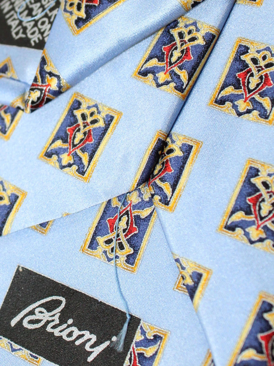 Brioni Tie & Matching Pocket Square Set Sky Blue Gold Red Medallions