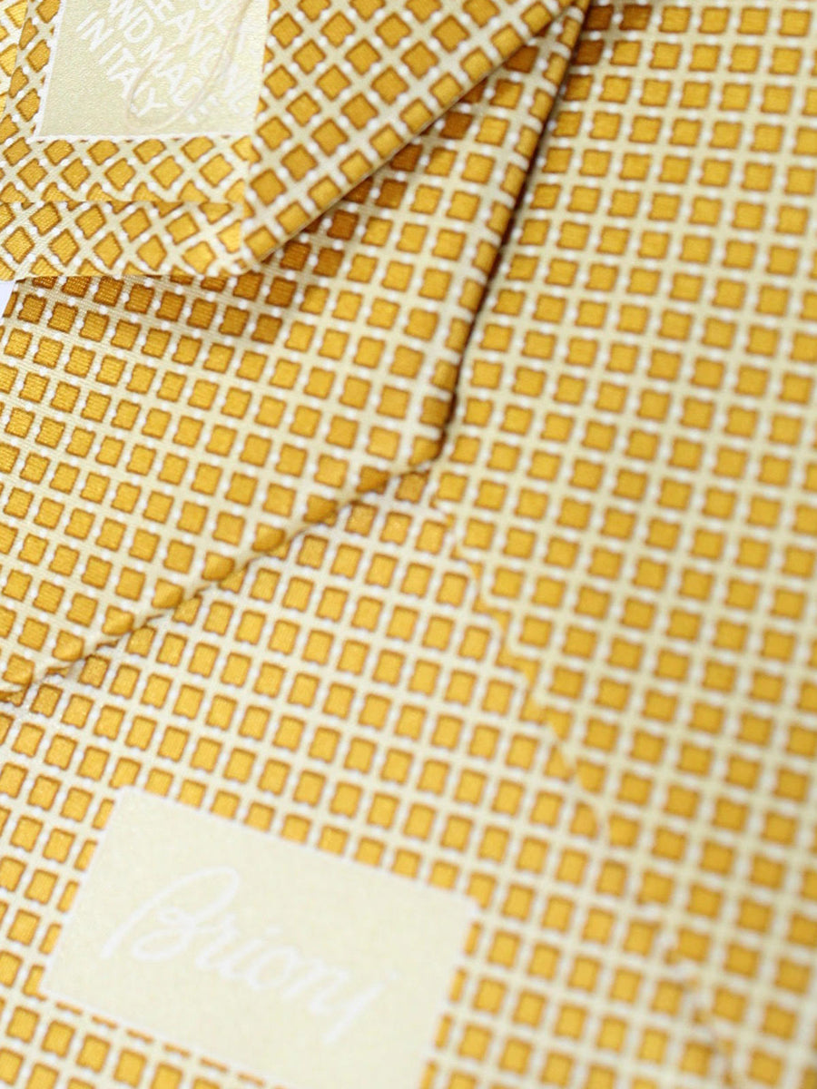Brioni Tie & Matching Pocket Square Set Mustard Silver Check