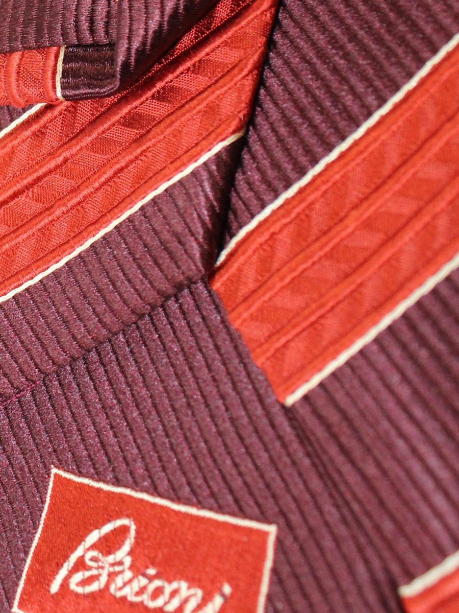 Brioni Tie Maroon Rust Orange Stripes Design