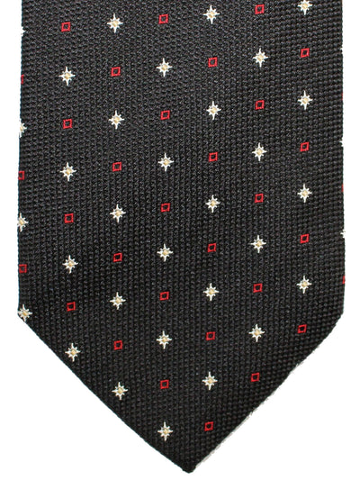 Brioni Silk Tie Black Red Silver Geometric