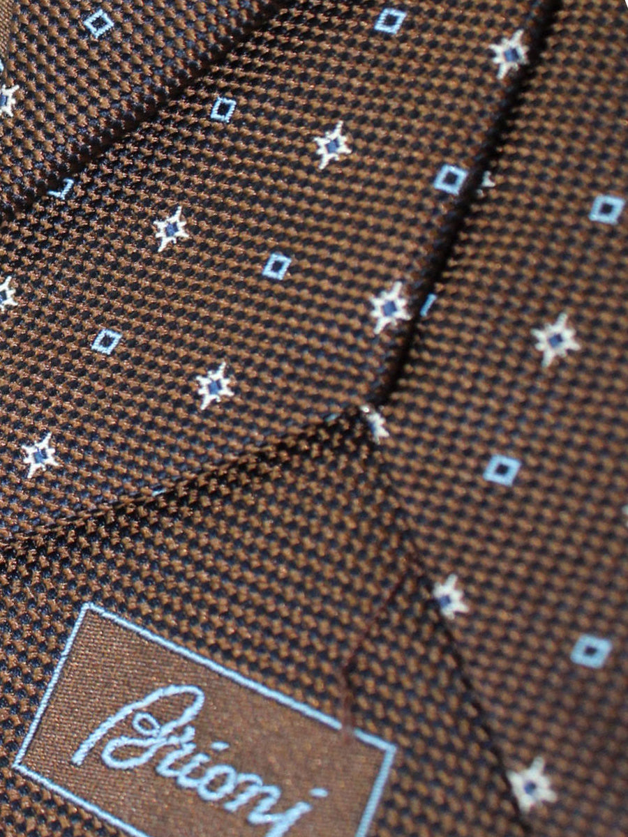 Brioni Silk Tie Brown White Geometric