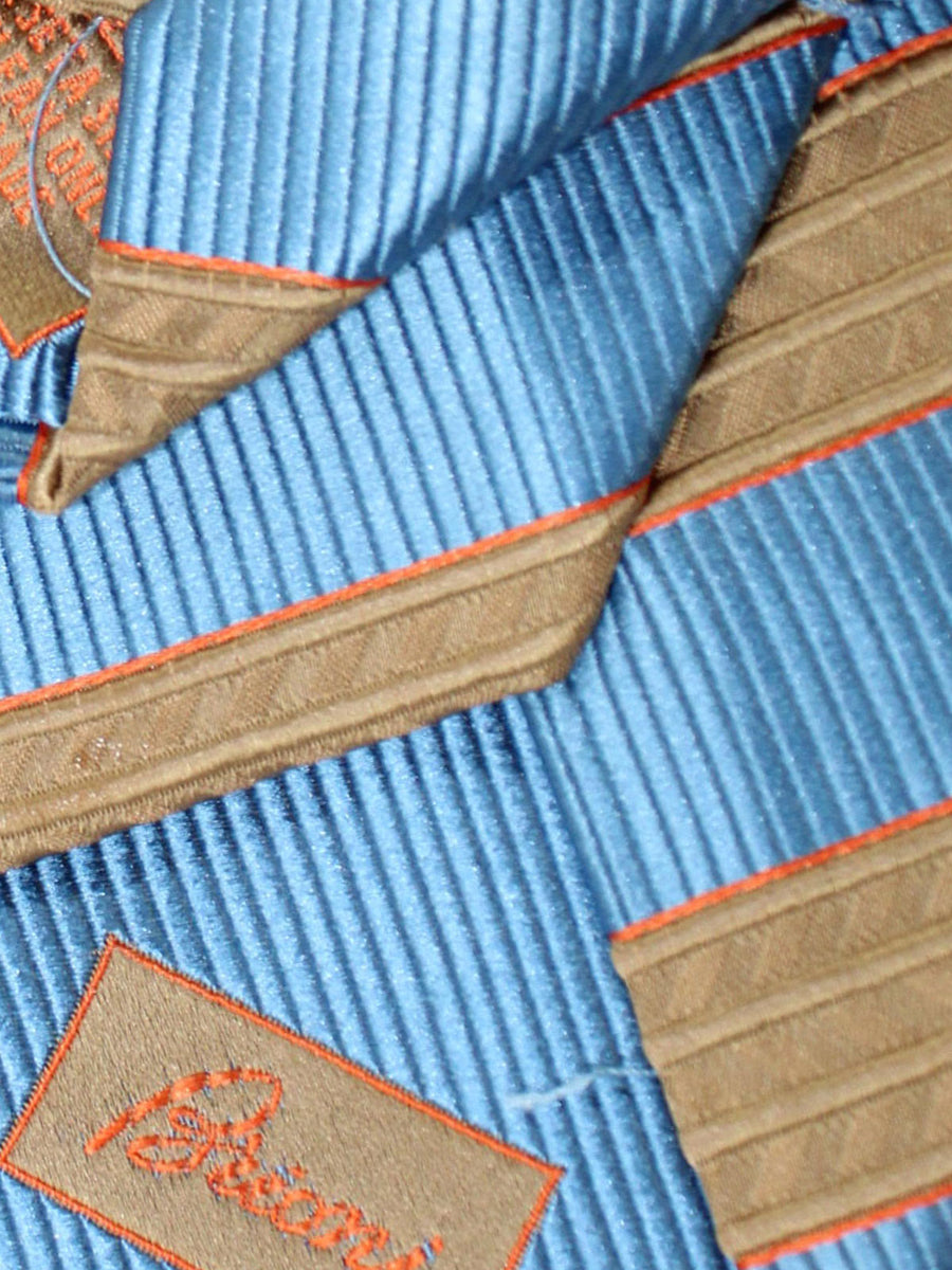 Brioni Necktie Blue Brown Cream Stripes Design