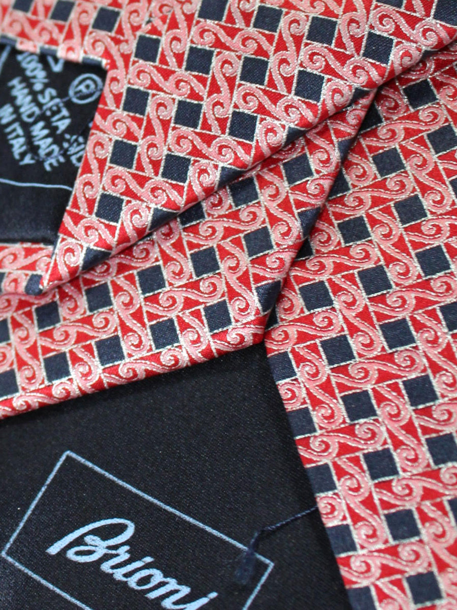 Brioni Silk Necktie Red Silver Black Geometric