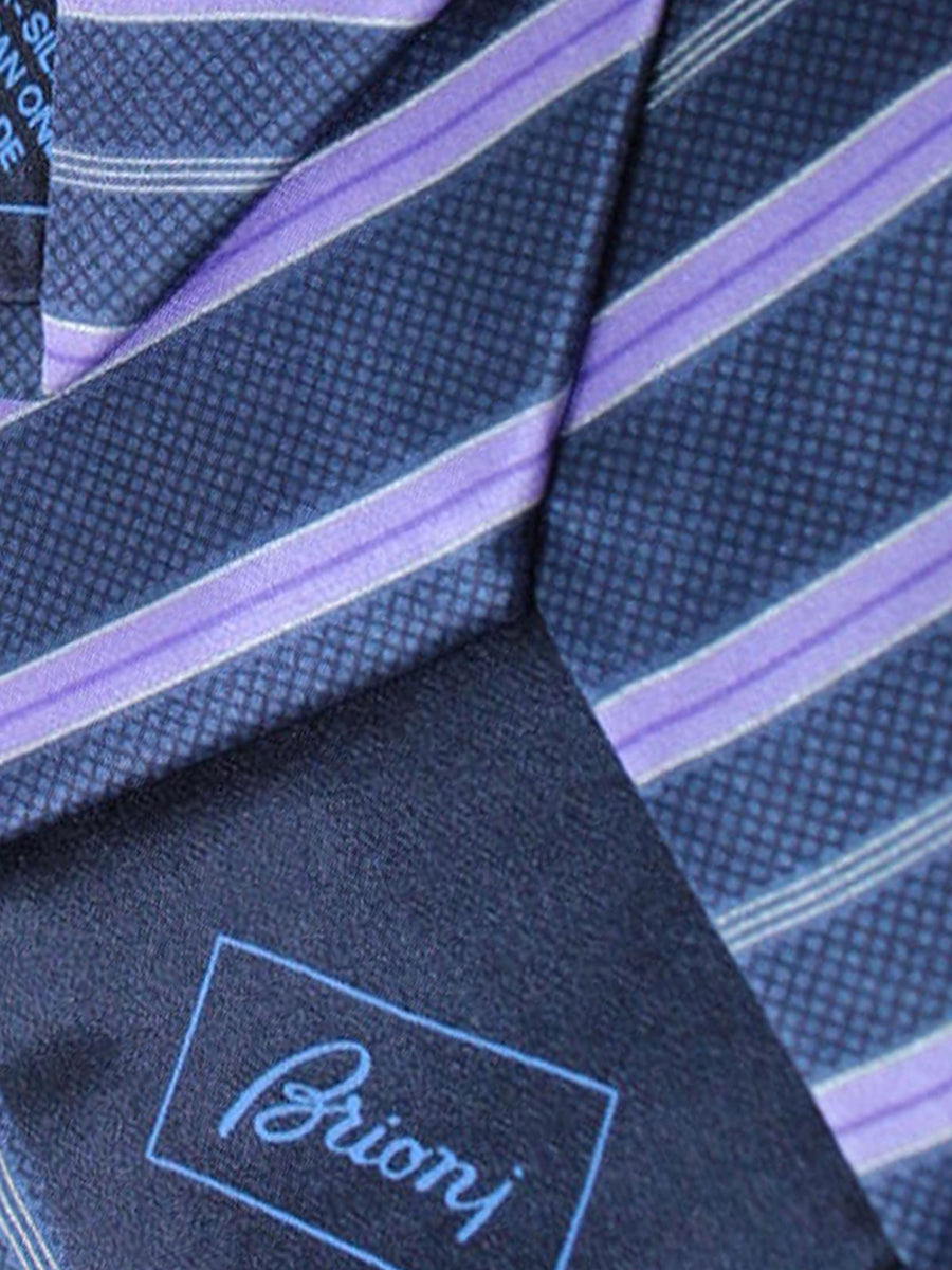 Brioni Tie & Matching Pocket Square Set Navy Purple Stripes