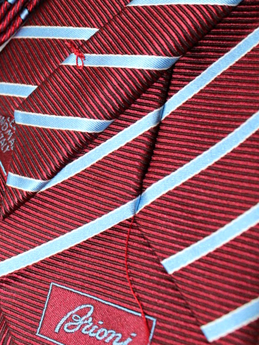 Brioni Tie & Matching Pocket Square Set Burgundy Sky Blue Stripes