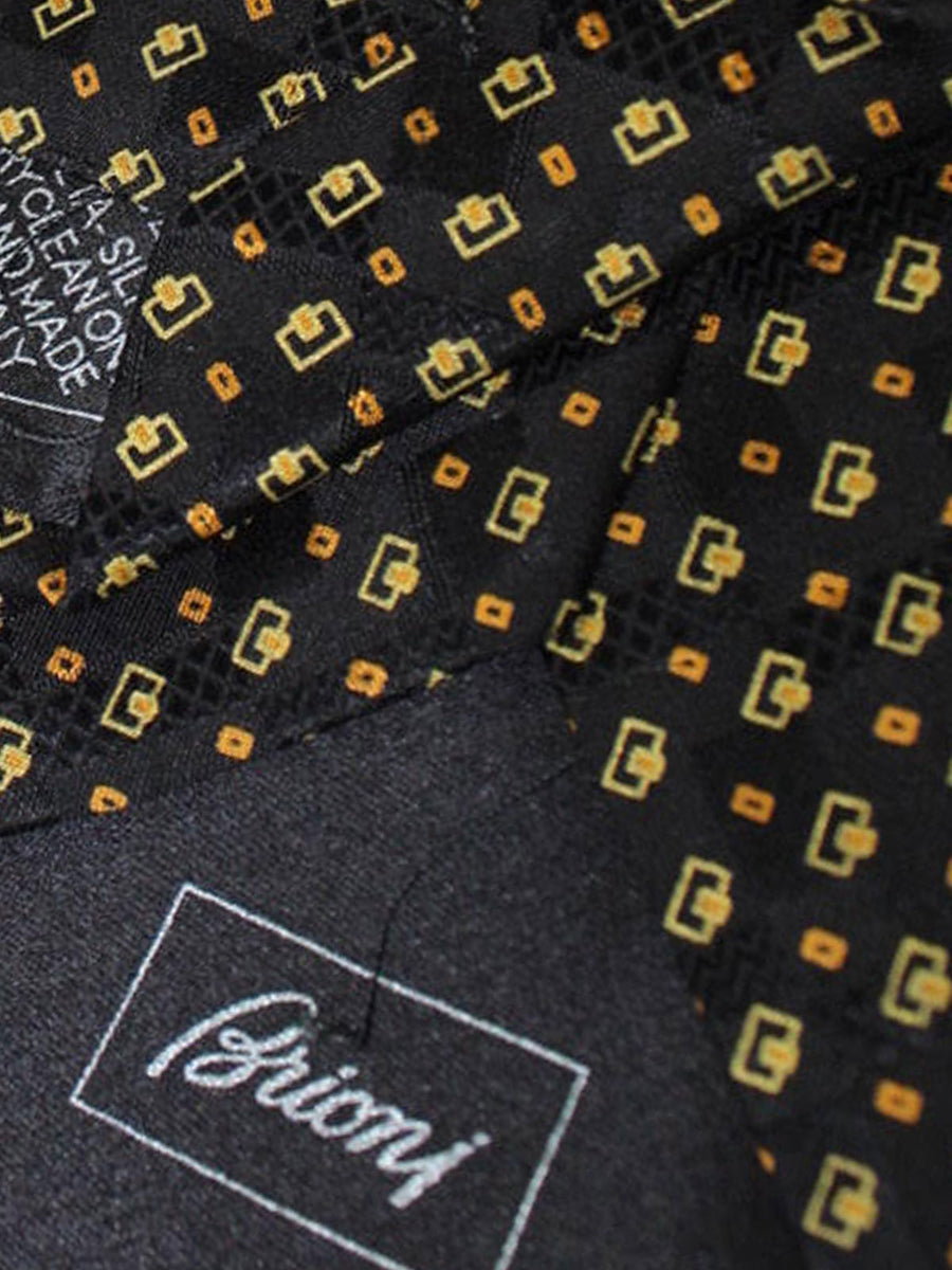 Brioni Tie & Matching Pocket Square Set Black Orange Gold Geometric