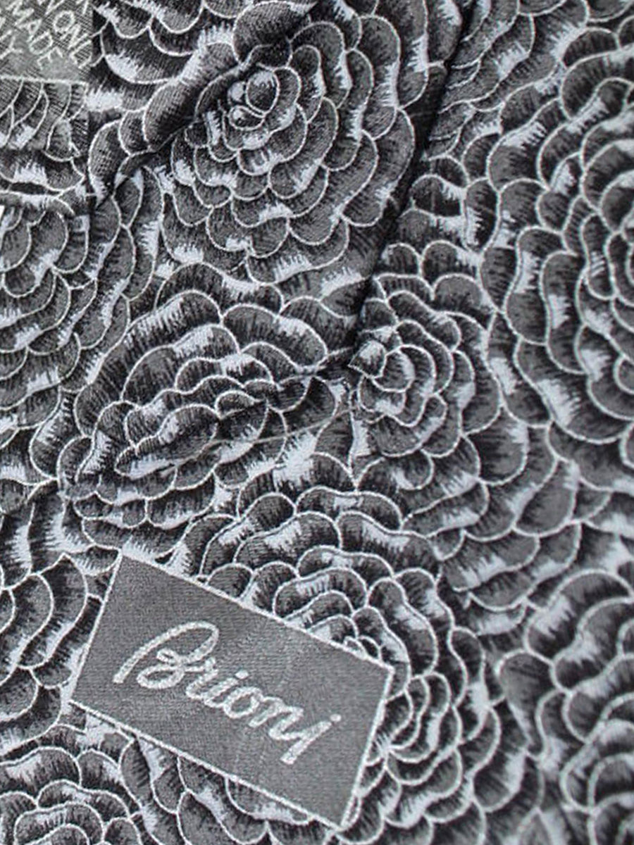 Brioni Tie & Matching Pocket Square Set Gray Floral